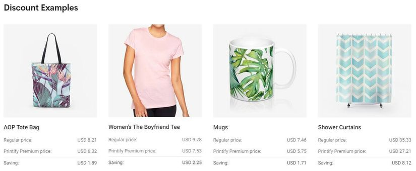 Printify Premium Discount Examples