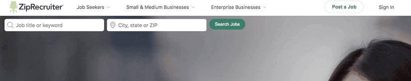 ZipRecruiter homepage