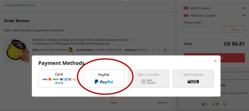Paypal Payment on AliExpress