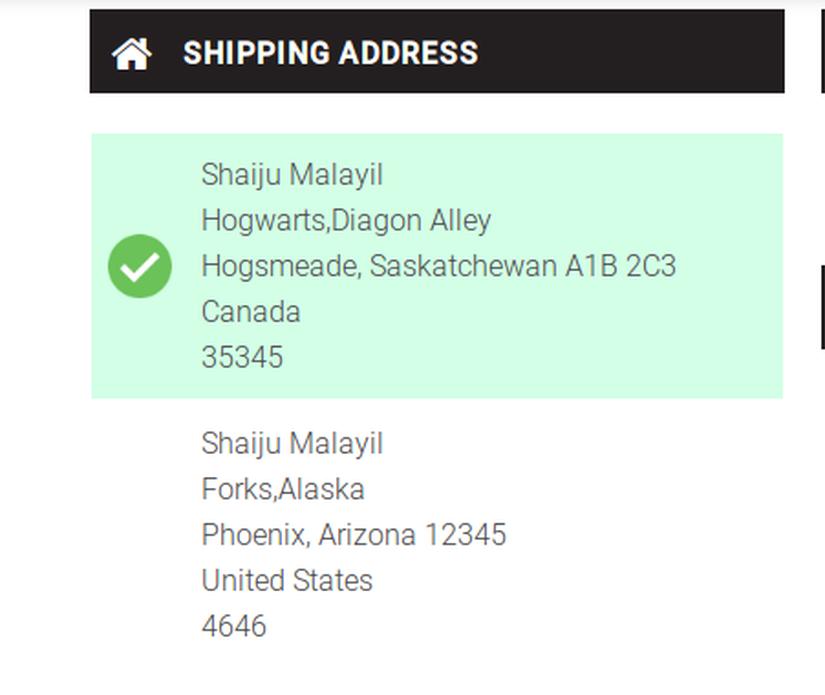 Shipping Address Format
