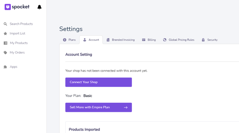 Spocket Settings Page