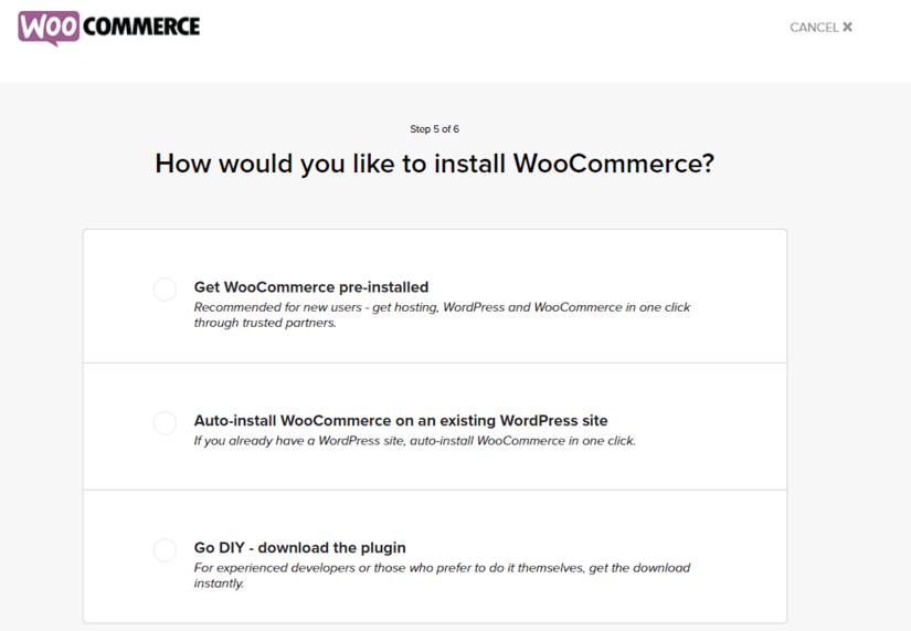 WooCommerce Install Choice Screen