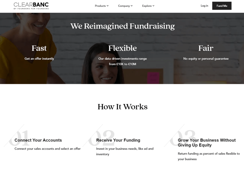Clearbanc Website