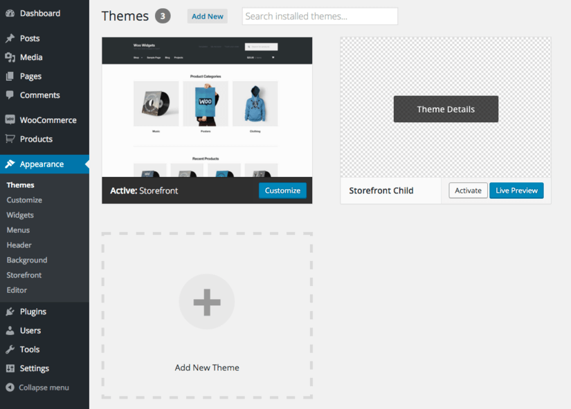 Themes Install Screen