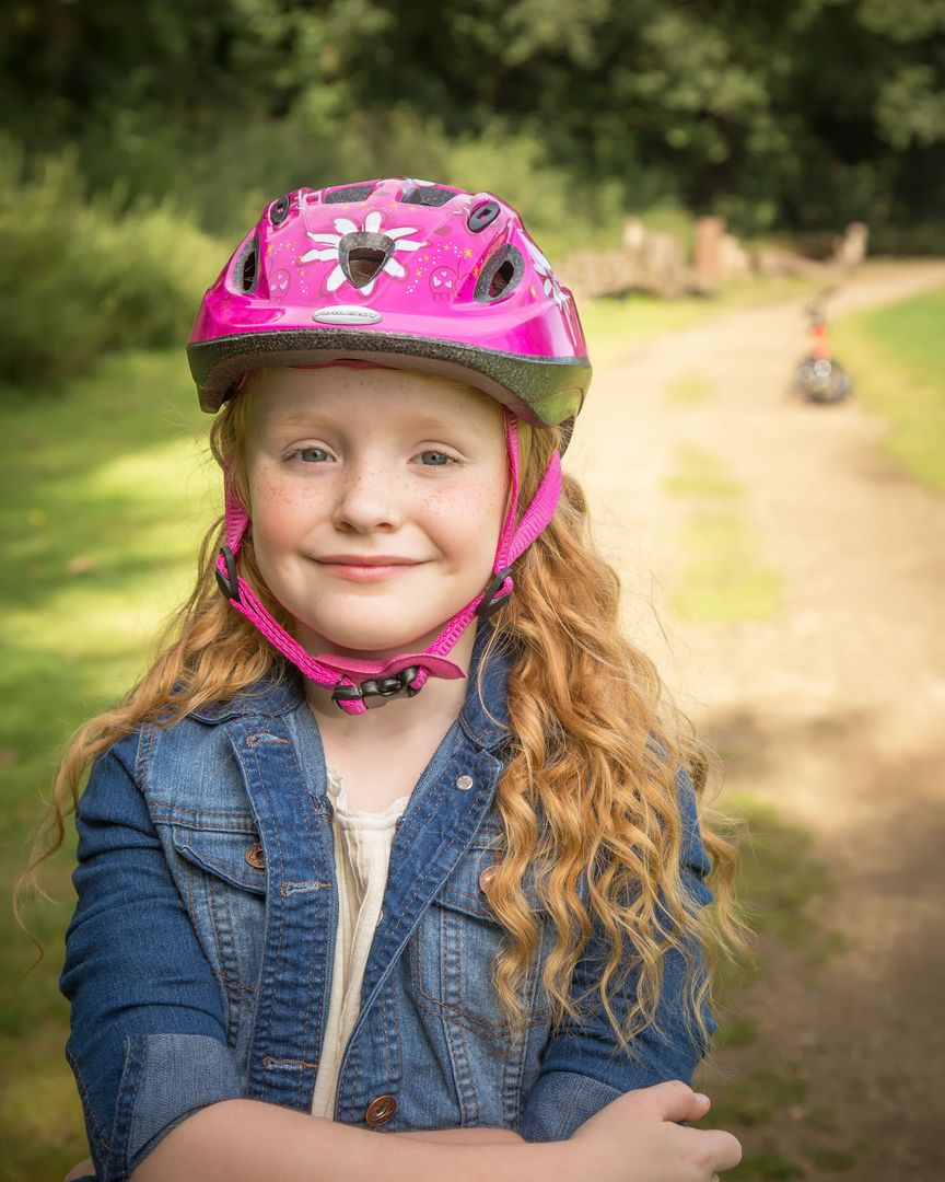 Girl with helmet