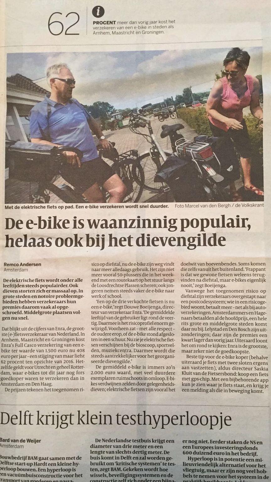 Knipsel E-bike Verzekering Volkskrant