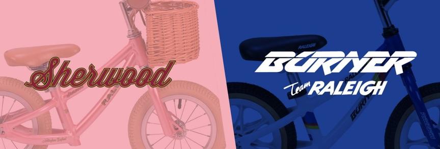 Picture comparing a mini Sherwood bike with a mini Burner bike