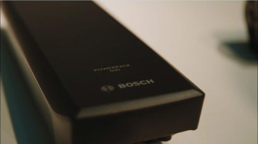 Close-up van Bosch PowerPack 500Wh e-bike accu