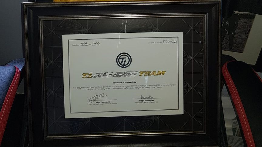 TI-Raleigh Anniversary Edition Bicycle certificate of authenticity