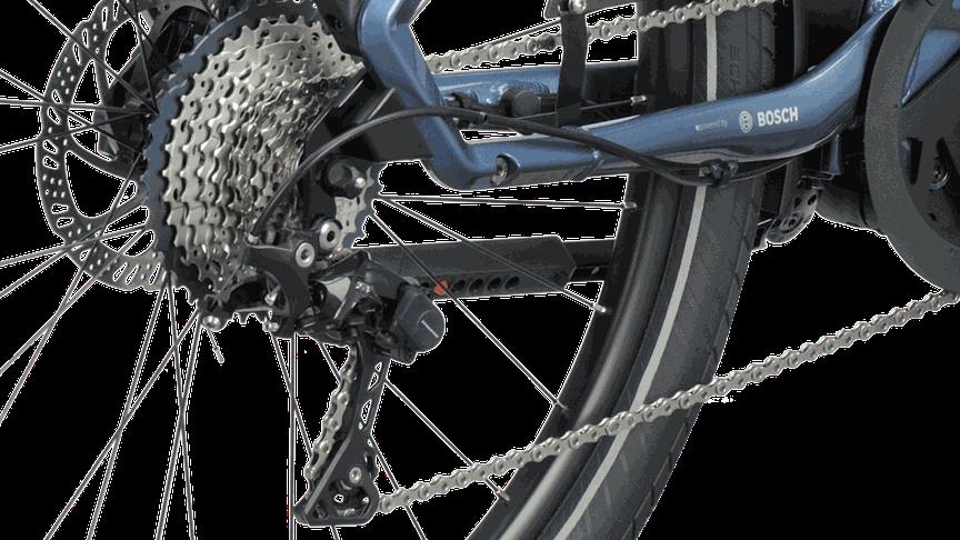 Detailfoto versnellingen e-bike