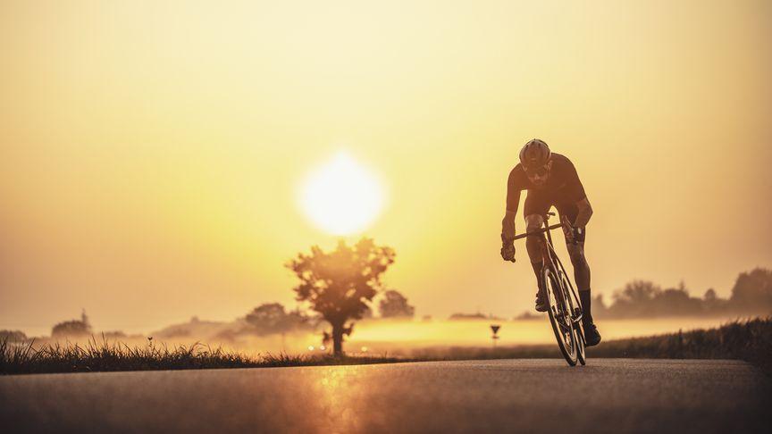 Lapierre Rennradfahrer fährt die Straße im Sonnenuntergang.