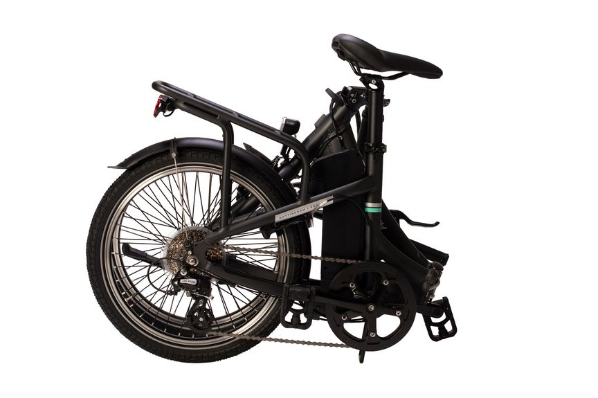 Picture on the side of a foldable eBike and its battery.