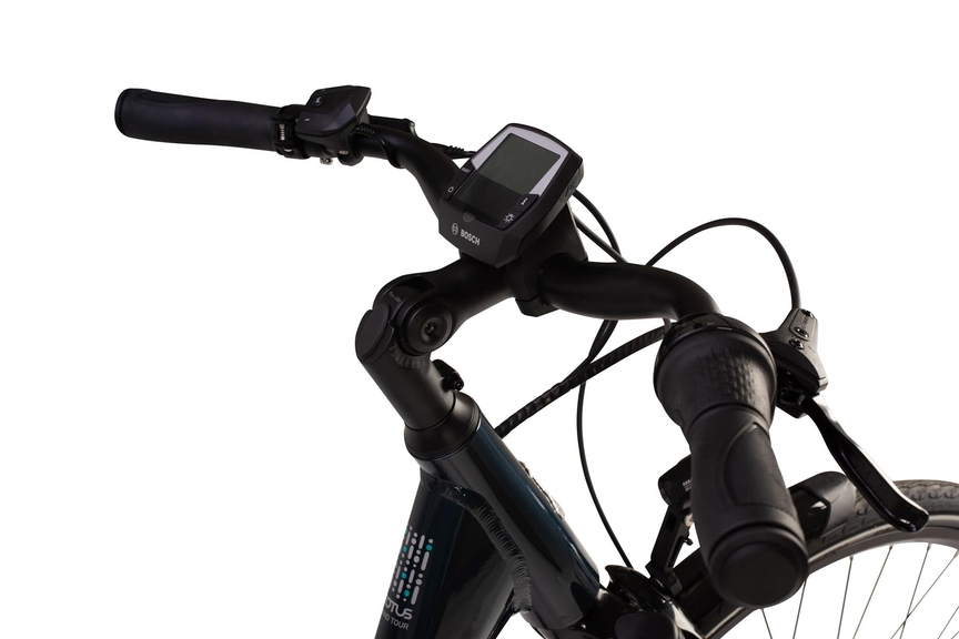 Close-up picture of a display on an ebike's handlebar