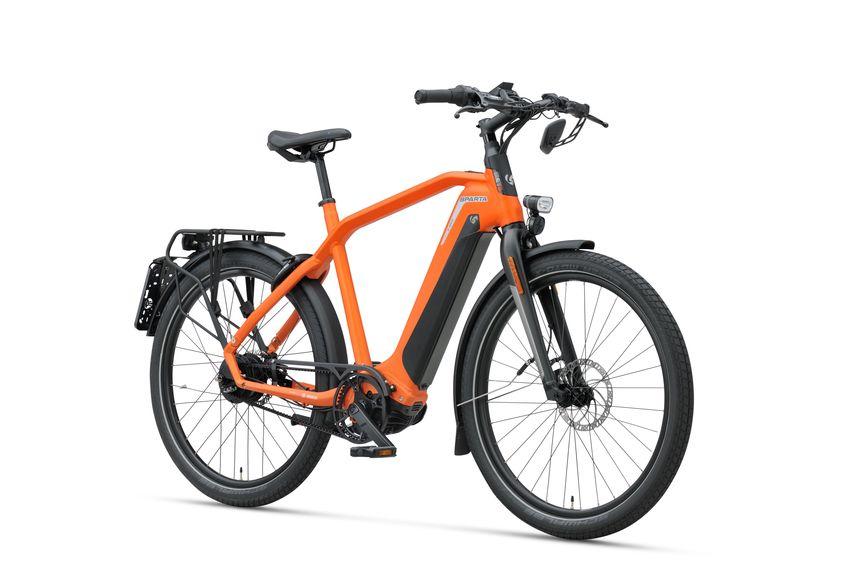 Vooraanzicht van de Sparta e-bike D-Burst MeTb Sunset Orange Gents