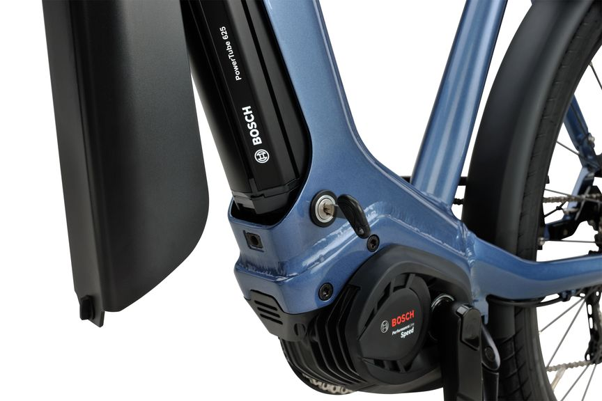 Detailfoto van de Bosch Powertube accu op de Sparta e-bike D-Burst m11tb