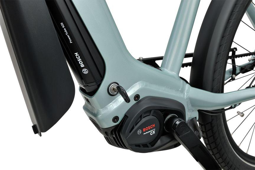 Detailfoto van de Bosch Powertube accu op de Sparta e-bike D-Burst M8Tb