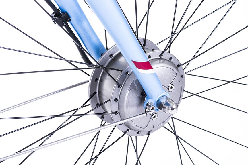 Close-up picture of a bike's front wheel