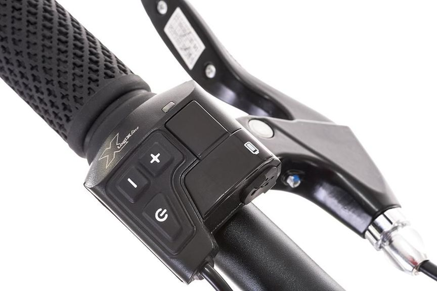 Close-up picture of a power control mounted on an ebike's handlebar.