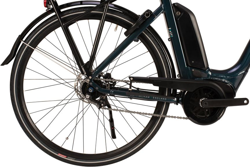 Close-up picture of an ebike's crankset.