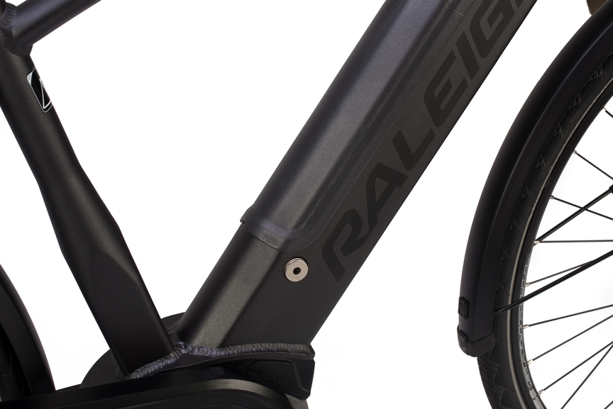 Close-up picture showing the battery integrated in the electric bike frame