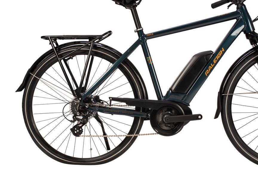 Picture showing an electric bike frame and its battery on the side.