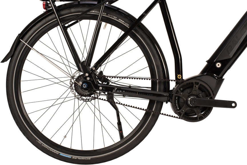 Close up picture showing a bike's belt drive