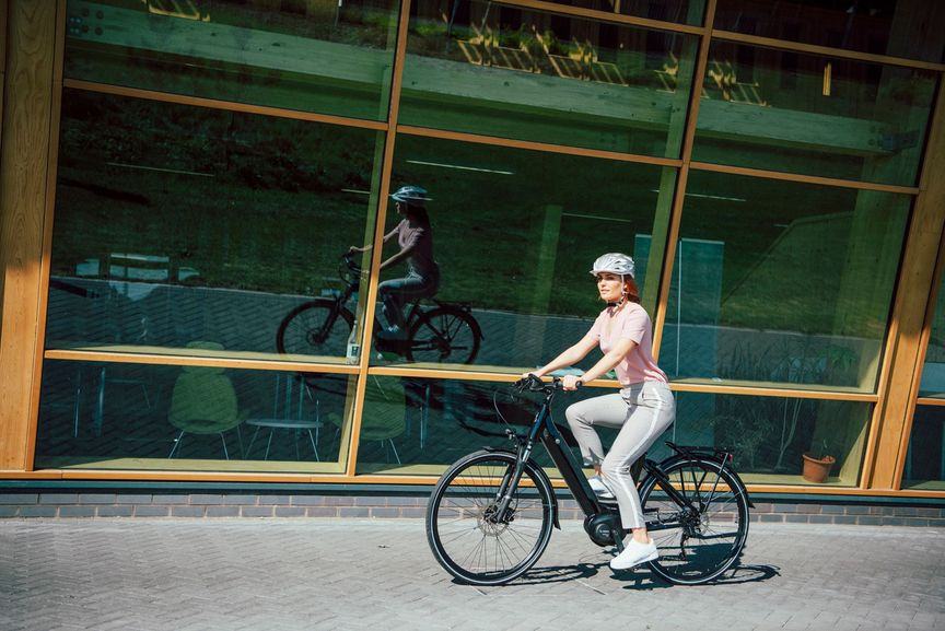Picture of a woman biking
