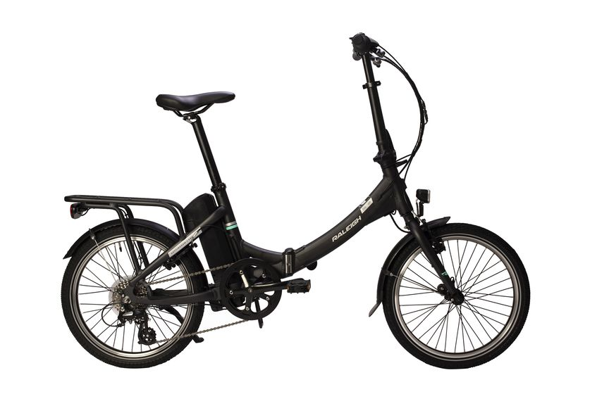 Picture of a Raleigh folding bike on the side.