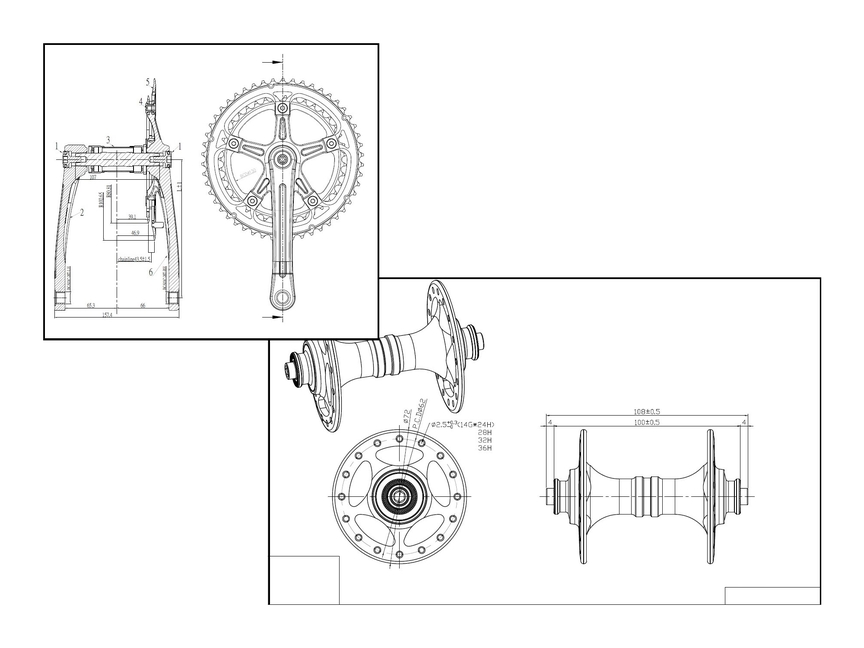 Chain Set Diagram and Bottom Bracket Drawing