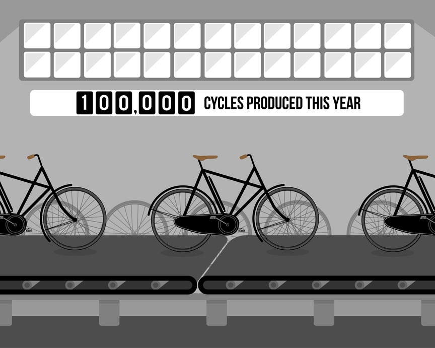 Illustration of bicycle production plant