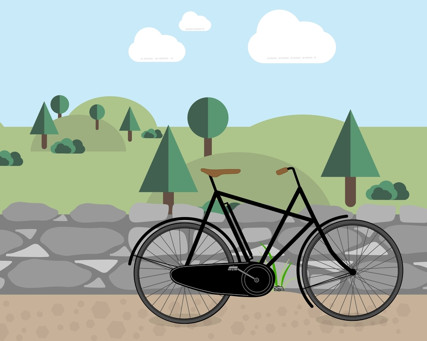 Illustration of a city bike in front of a forest