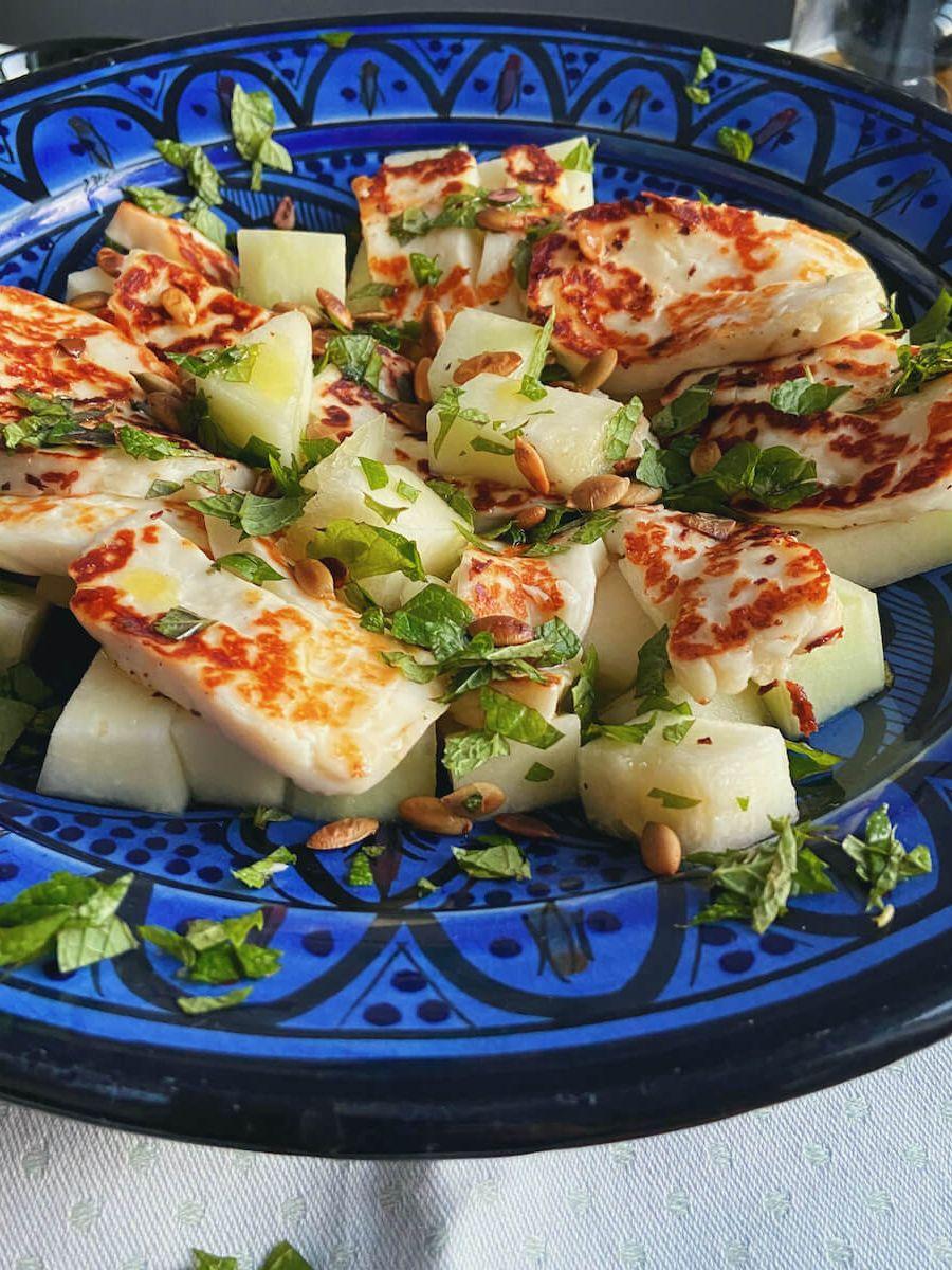 Vegetar salat - Halloumi og melon