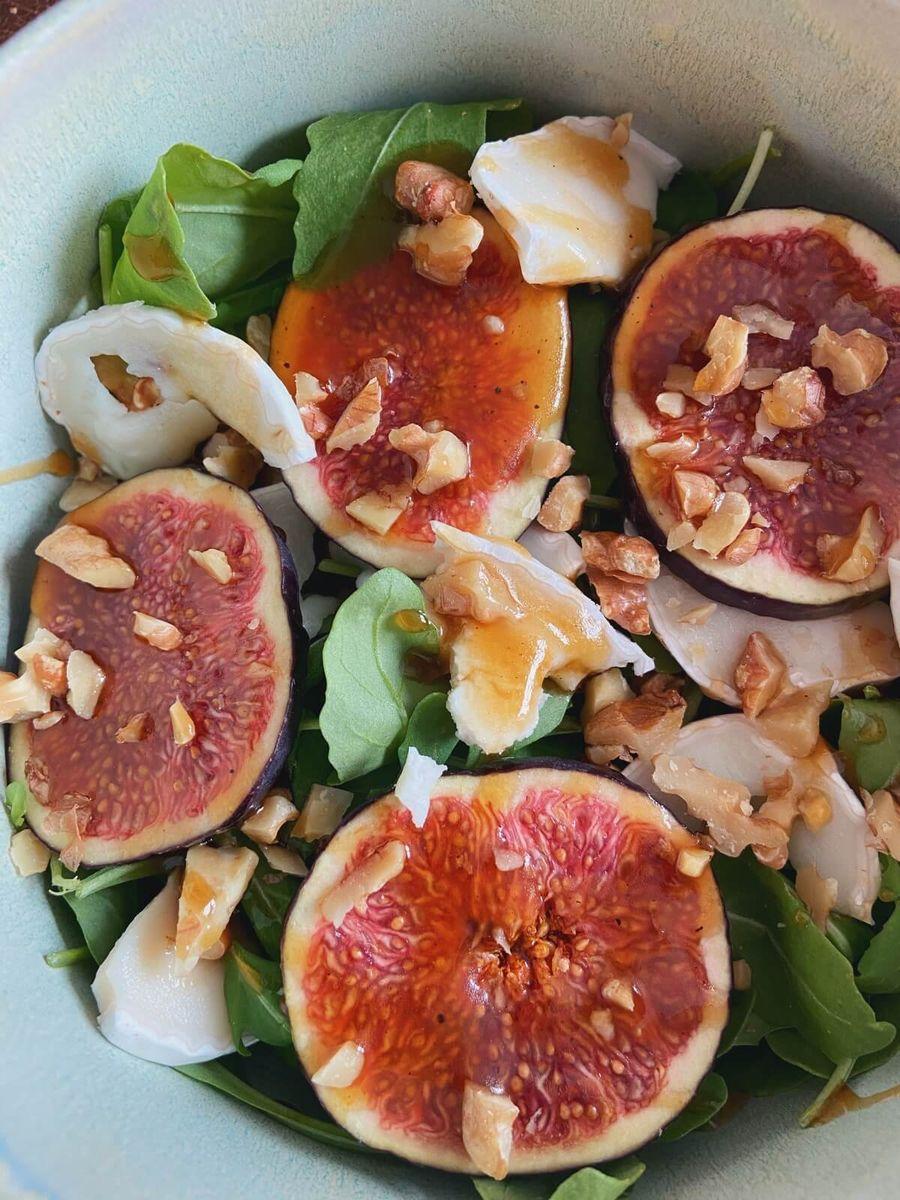Vegetar - Figensalat med valnødder og gedeost