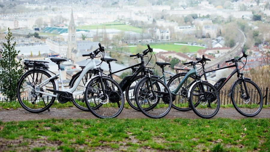 Several ebikes parked