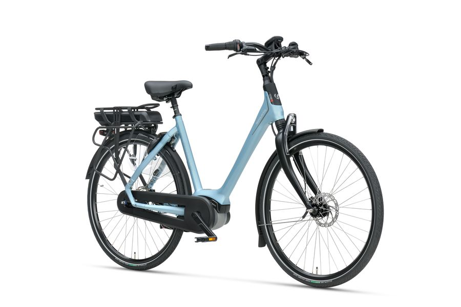 Vooraanzicht dames e-bike A-shine m8b crystal blue matte van Sparta
