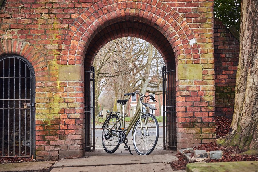 Bike standing at a park entrance