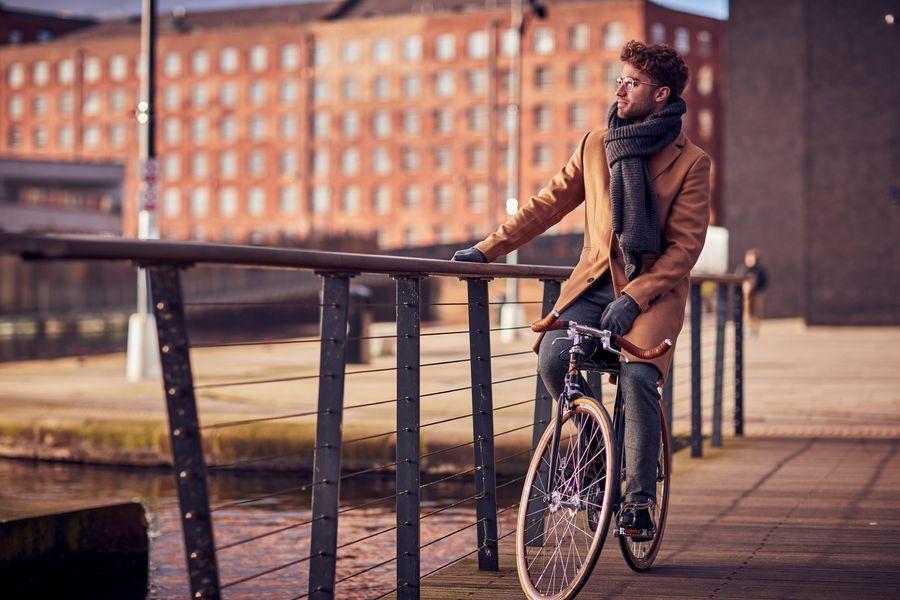 Man sitting still on a bike