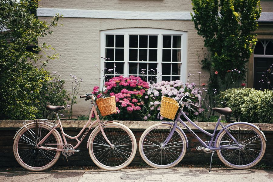 Two Raleigh classic bikes during summer