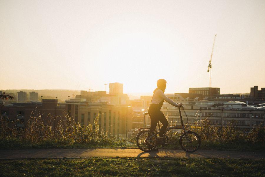 Woman riding a Raleigh Stowaway
