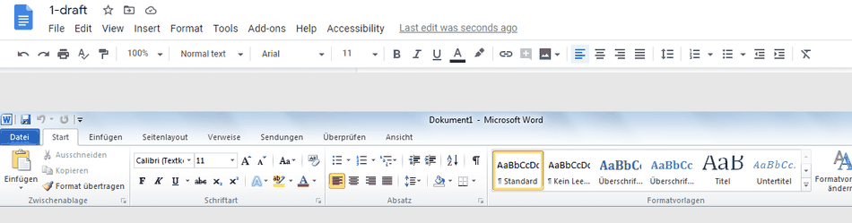 a screenshot from Google Doc showinh the name of the document and some functionalities on the top