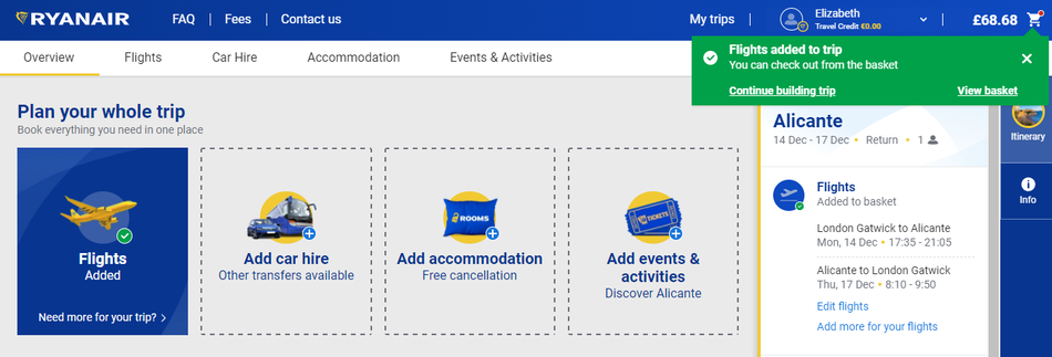 Ryanair site screenshot