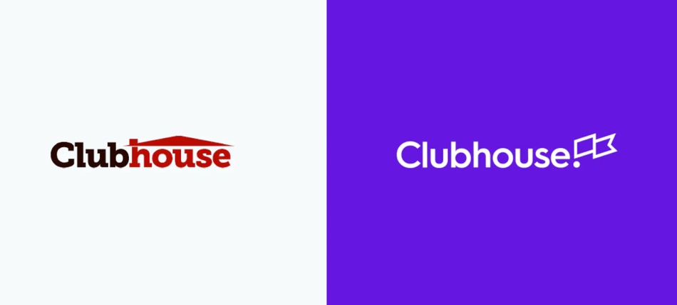 Old and new vision of Clubhouse logo from Ueno's case study