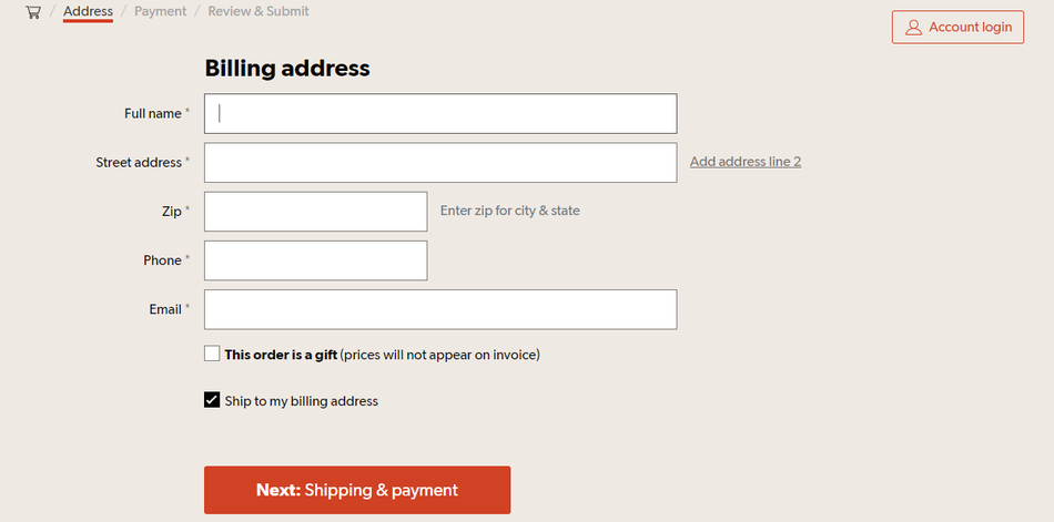 Example of checkout UX