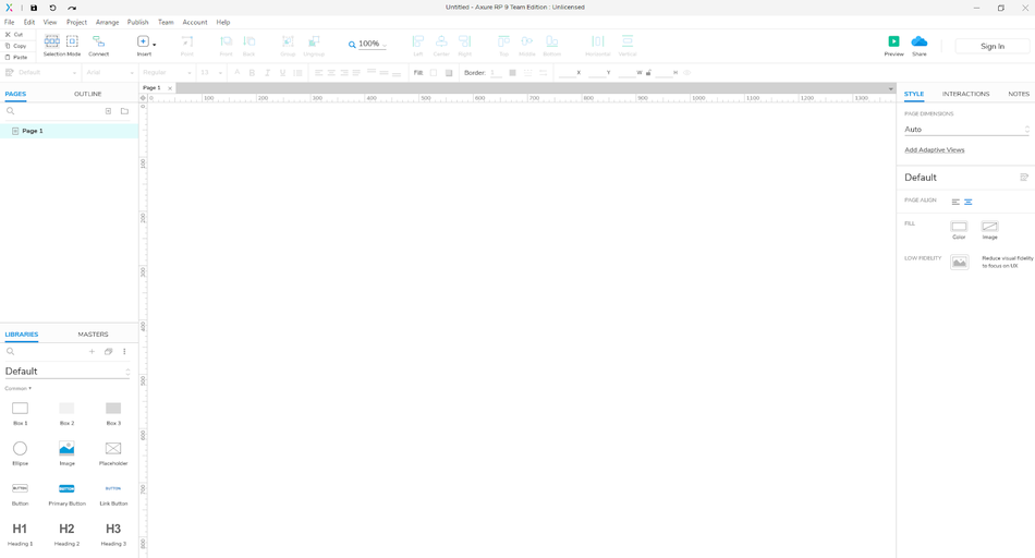 prototyping software Axure starting screen