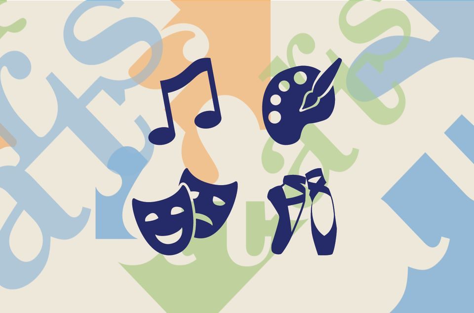 A colorful background with icons of music notes, paint brush with palette, theatre masks, and ballet shoes in dark blue.
