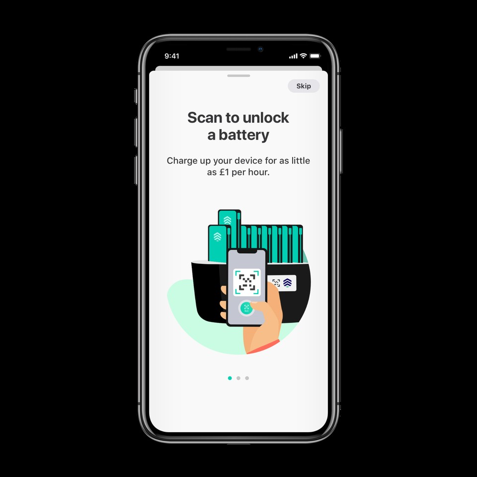 ChargedUp onboarding screen shown on iPhone X