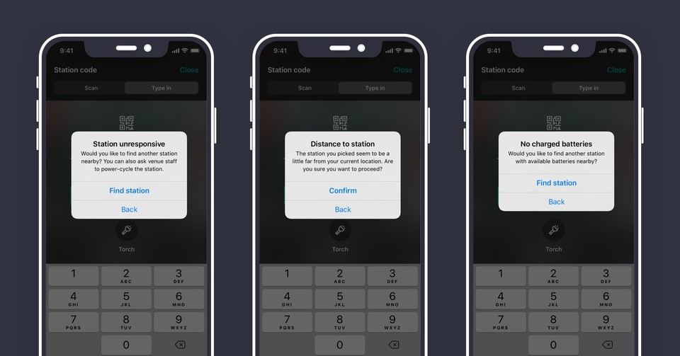 Examples of alert messages in iOS app