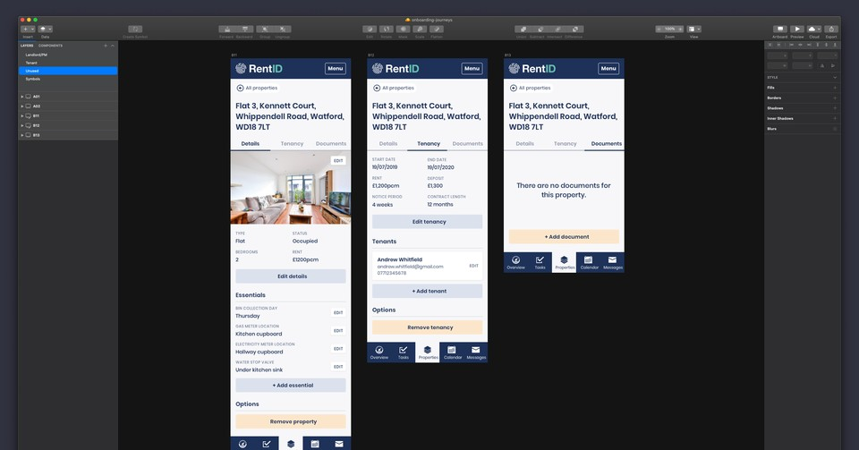 Screens making up a property management section of the app.