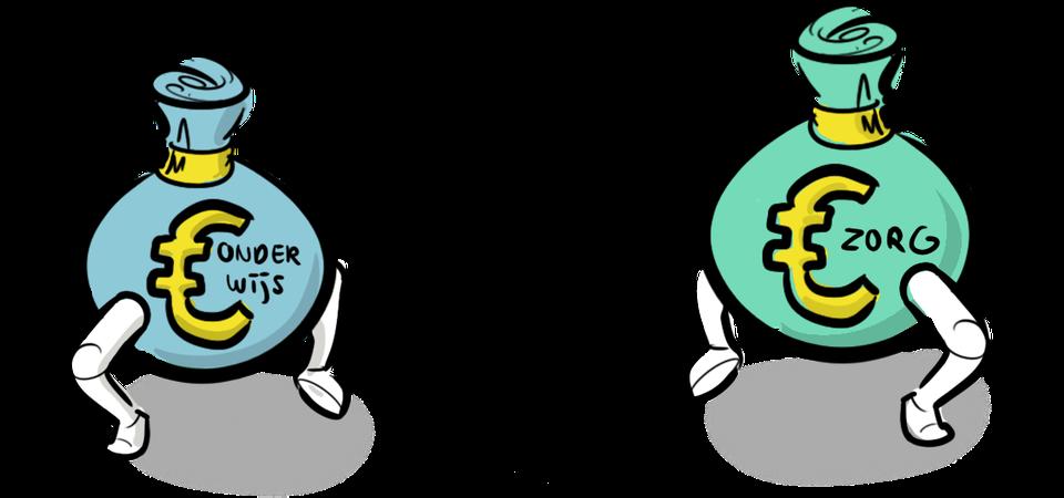 illustratie sneltekenen tekenaar geldstromen onderwijs en zorg deelnemers verbinden bijeenkomst event brainstorm
