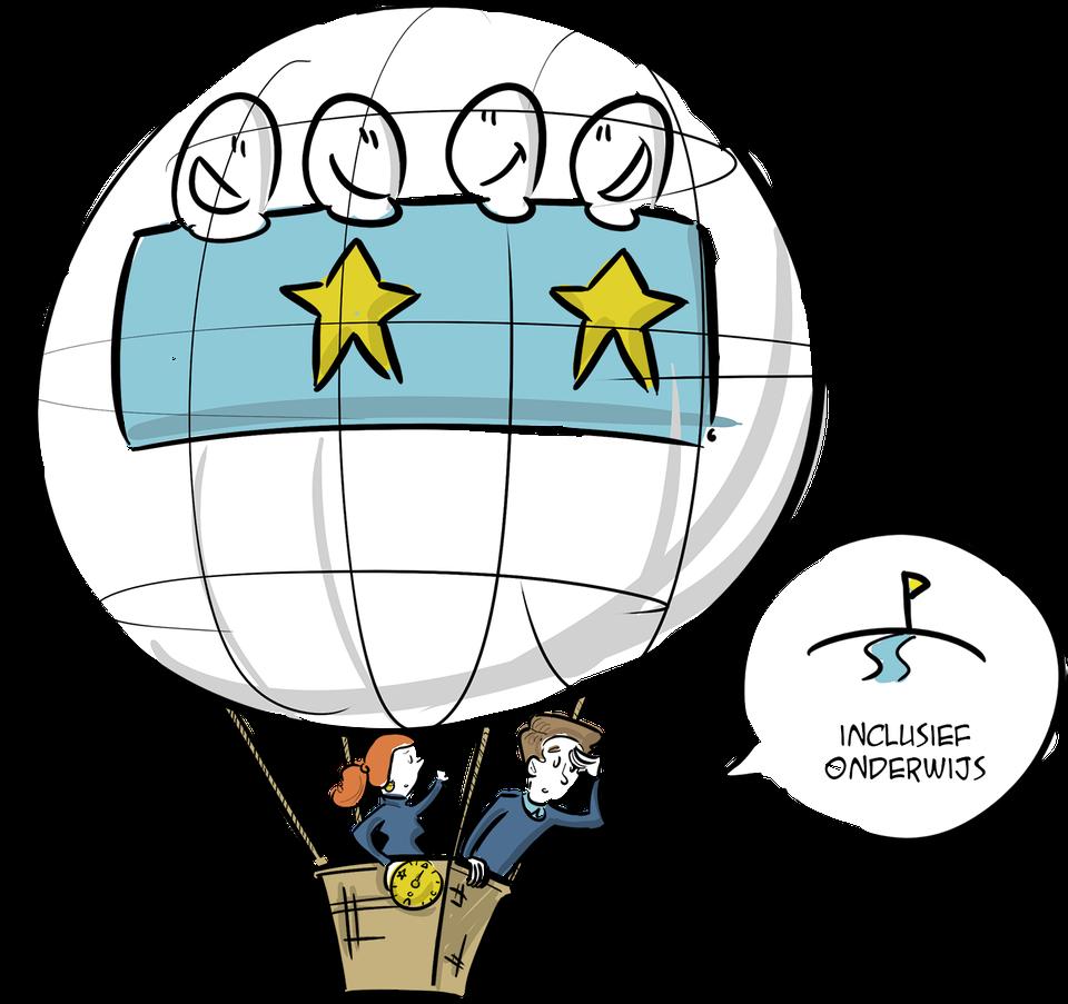 passend onderwijs illustratie inclusief onderwijs stip op horizon visie strategie tekening verbeelding inhuren